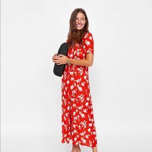 a72e31575a63 Zara Dresses | Nwt Long Floral Button Down Shirt Maxi Dress | Poshmark